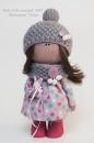 Интерьерная кукла в серо-розовых тонах