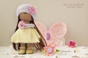 Интерьерная кукла - бабочка розово-салатовая